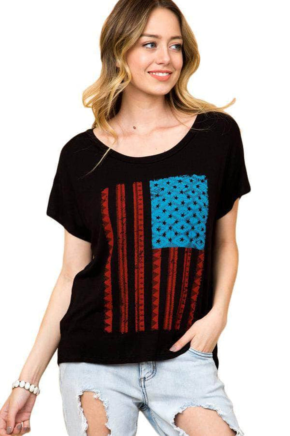 Black American Flag Graphic Short Sleeve Tee