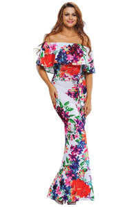 Multi-color Floral Print Off-the-shoulder Maxi Dress
