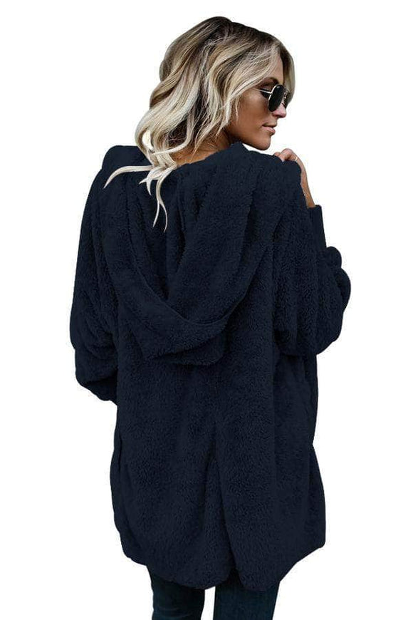 Blue Soft Fleece Hooded Open Front Coat