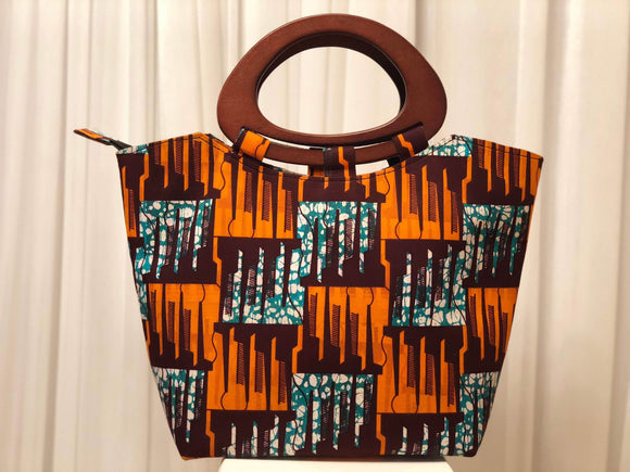 African Print Purse w/ Wooden Handle