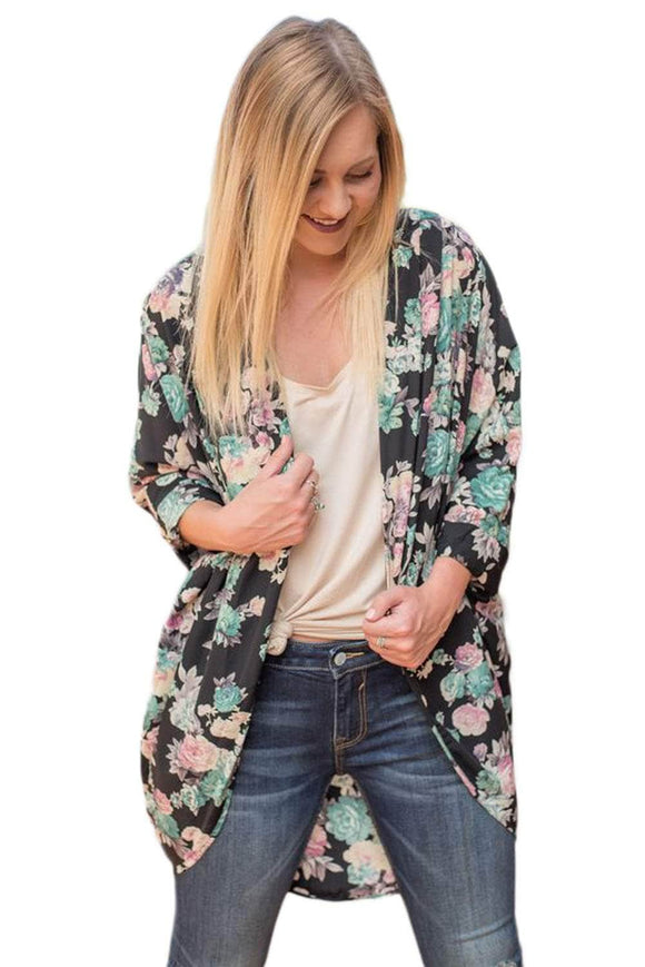 Light Blue Floral Kimono Cardigan Loose Cover up