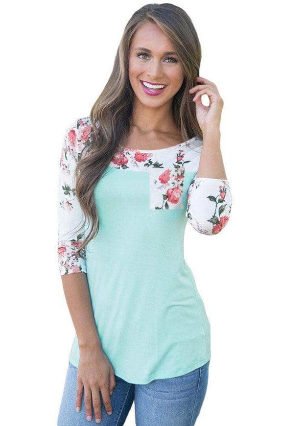 Floral Printed Baby Blue Womens Top
