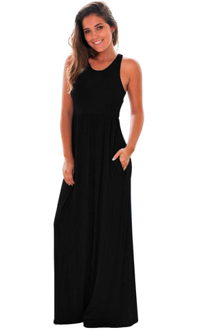 Black Racerback Maxi Dress with Pockets by Victory Roze