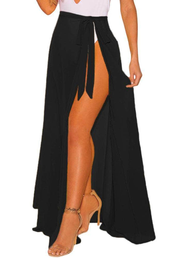 Black Sheer Wrap Maxi Beach Skirt