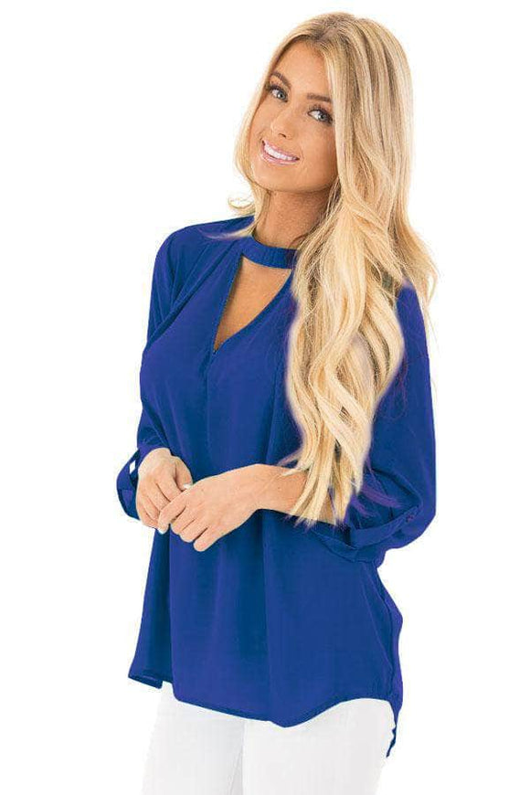Blue Choker Cut out V Neck Blouse with Keyhole Back