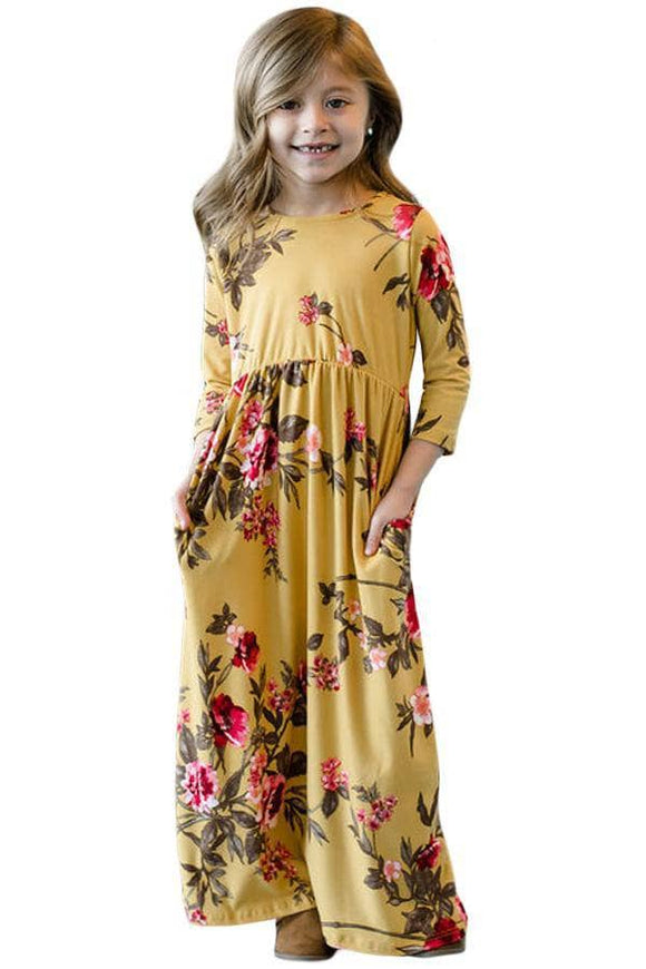 Mustard Floral Maxi Dress for Girls
