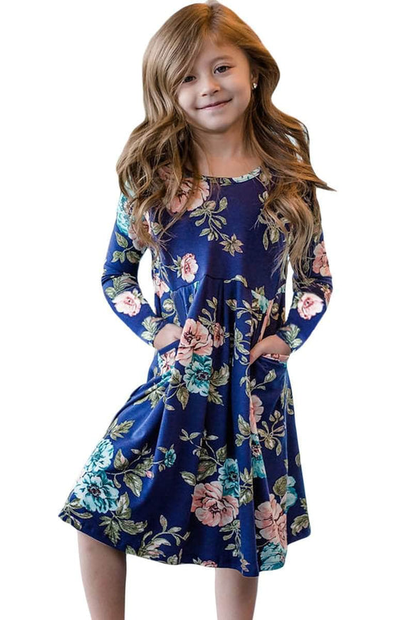 Floral Blue Swing Dress with Hidden Pockets