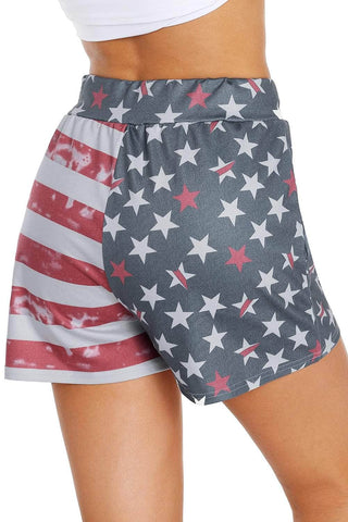American Flag Print Print Charcoal Casual Shorts by Victory Roze