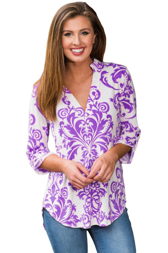 Purple Damask Print Slight Collar V Neck Blouse