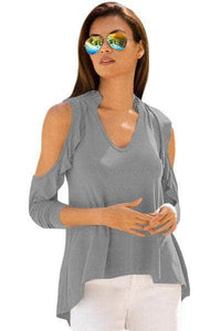 Gray Cold Shoulder Ruffle Top