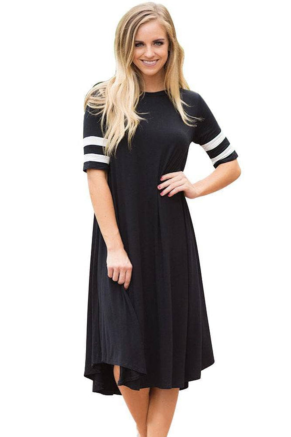Striped Half Sleeves O Neck Flowy Jersey Dress in Black