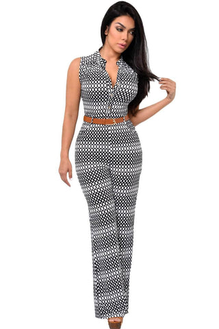 Circle Print Belted Wide Leg Jumpsuit
