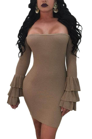 Brown Off The Shoulder Ruffled Sleeve Ribbed Mini Dress