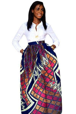 Stylish Diagram Block African Print Navy Maxi Skirt