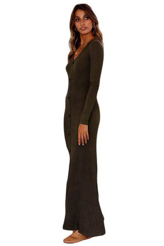 Olive Long Sleeve Button Down Slit Front Maxi Jersey Dress