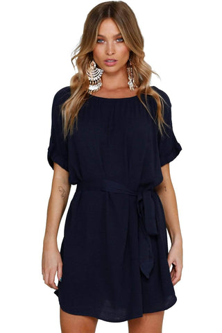 Navy Casual Chic Short Chiffon Dress