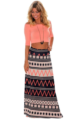 Boho Geometry Printed Maxi Skirt