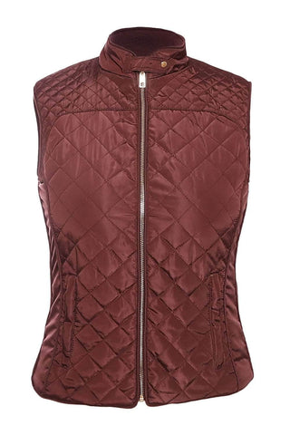 Burgundy High Neck Diamond Cotton Quilted Vest Coat