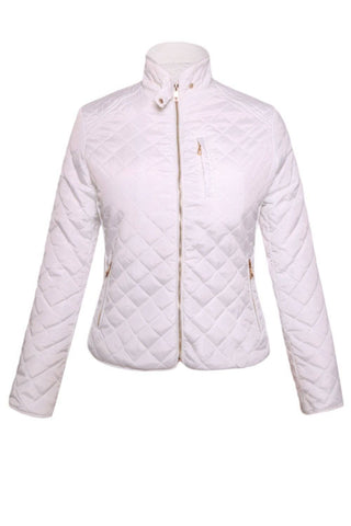 White Diamond Quilted High Neck Cotton Jacket by Victory Roze