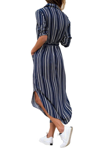 Navy White Multi Striped Shirt Dress with Tie