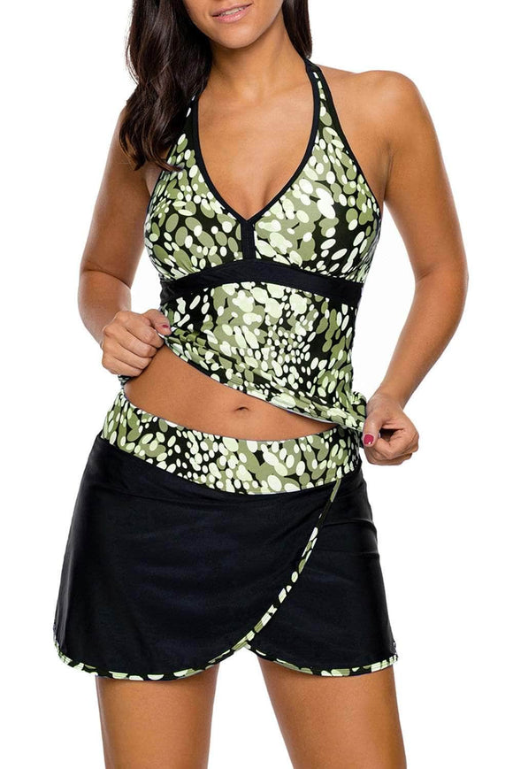 Olive White Spots V-neck Tankini Wrapped Skirt Swimsuit