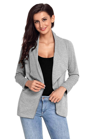 Gray Women's Casual Chic Jacket with Side Zipper