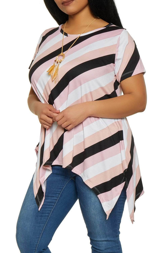 Pink Plus Size Striped Sharkbite Tee
