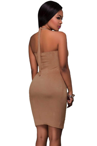 Brown Grommet Detail Halter Suede Bodycon Dress