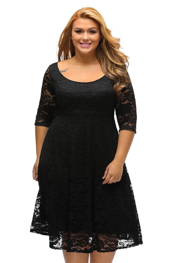 Black Floral Lace Sleeved Fit and Flare Curvy Dress
