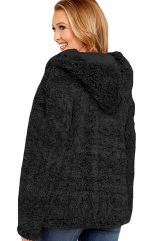 Black Zip Down Furry Hooded Jacket