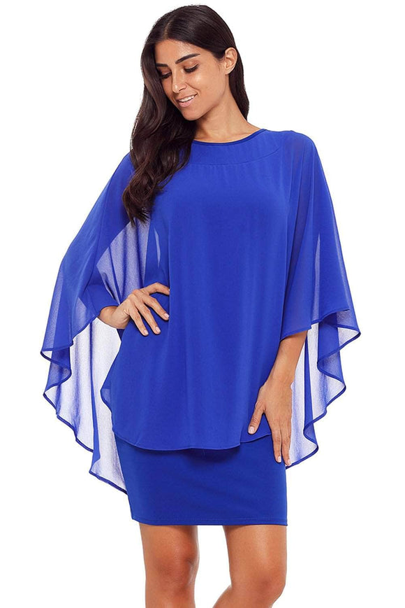 Blue Slinky Sexy Gauze Cape Mini Dress