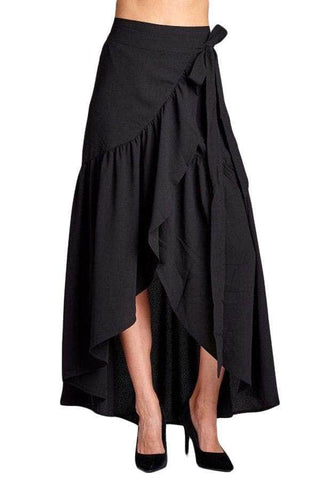 Black Frilled Wrap Maxi Skirt