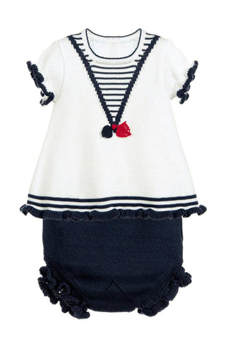 White Navy Ruffled T-shirt and Panty Baby Suit by Victory Roze