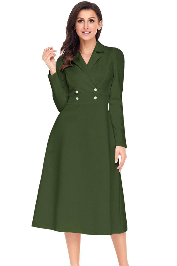 Army Green Vintage Button Collared Fit-and-flare Dress