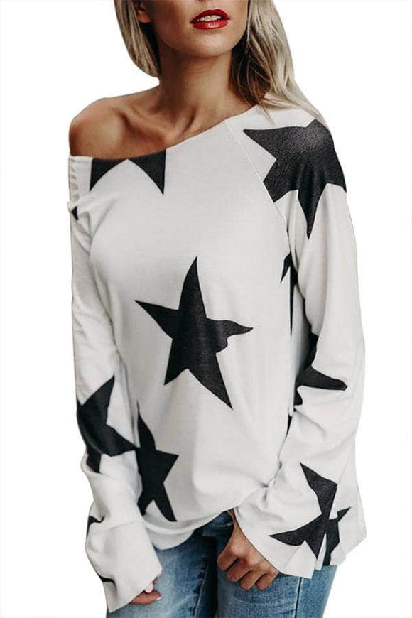 White Long Sleeve Star Bright T-shirt