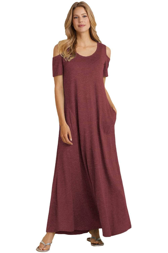 Burgundy Cold Shoulder Pocket Style Maxi Dress