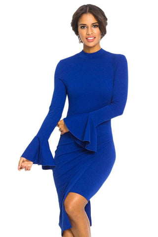 Royal Blue Keyhole Back Asymmetric Bodycon Midi Dress