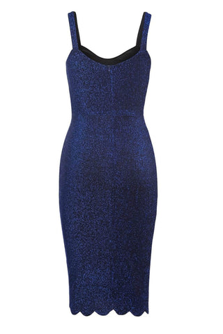 Royal Blue Sleeveless Glitter Midi Dress