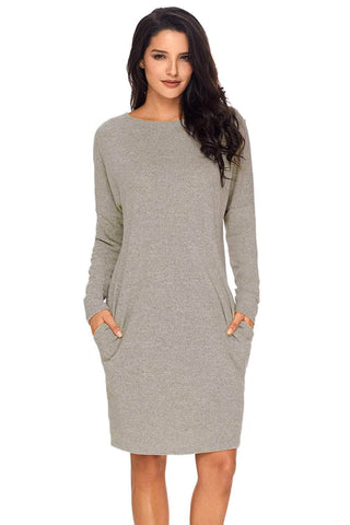 Gray Pocketed Loose Fit Dress