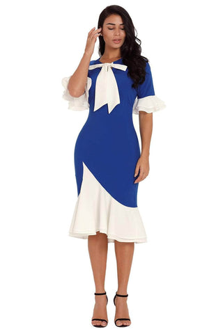 Vintage Pussy Bow Flounce Accent Royal Blue Dress