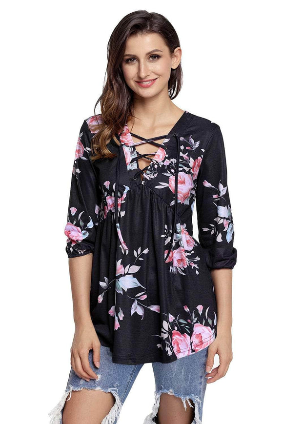 Black Floral Print Lace Up V Neck Sleeved Blouse