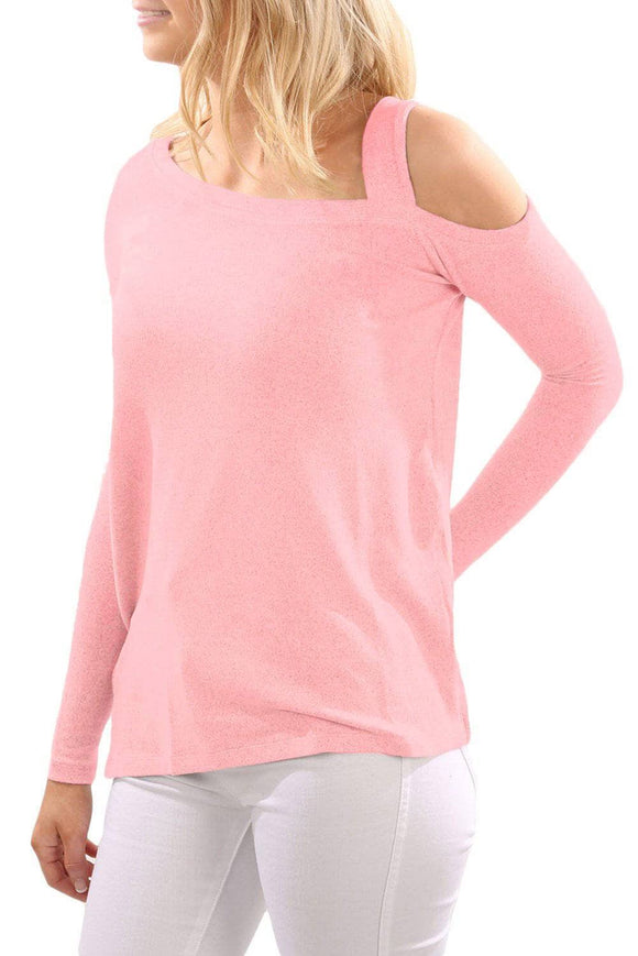 Pink One Shoulder Long Sleeve Top with Slit