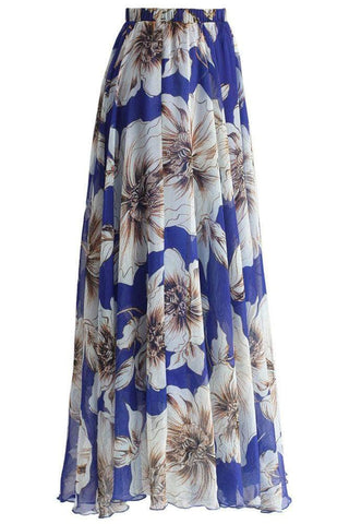 Blue Blossoming Floral Chiffon Maxi Skirt by Victory Roze