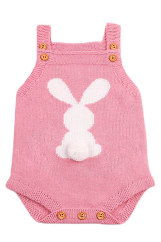 Cute Bunny Knitted Pink Newborn Romper
