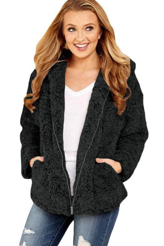 Black Zip Down Furry Hooded Jacket by Victory Roze