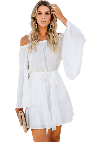 White Pocketed Off Shoulder Flare Dress