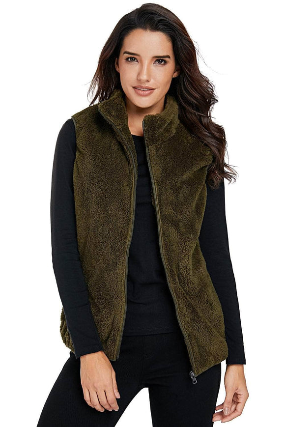 Olive Green Furry High Neck Vest Jacket