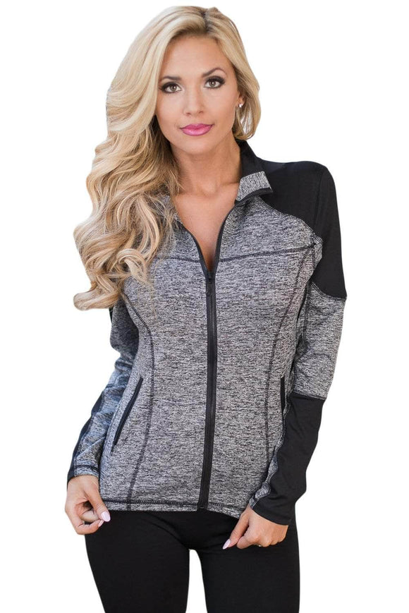 Charcoal Black Athletic Yoga Running Sport Jacket