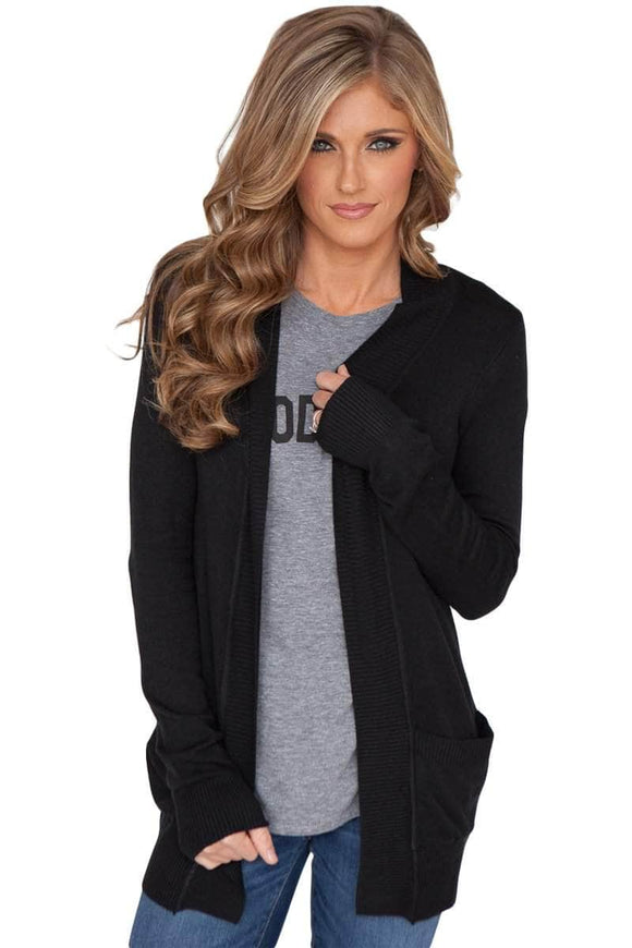 Black Knit Long Sleeve Cardigan Top with Pockets