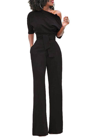 Black Slanted One Shoulder Wide Leg Jumpsuit